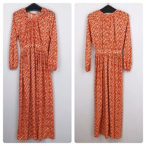 Vintage 70s Orange Daisy Floral Maxi Dress